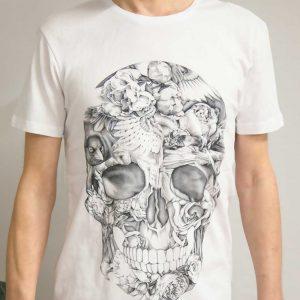 Кайтерская футболка «No wind — no life» gold edition белого цвета